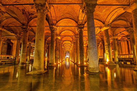 Istanbul, Turkey - 22 February 2015: The Basilica Cistern - underground water reservoir build by Emperor Justinianus in 6th century