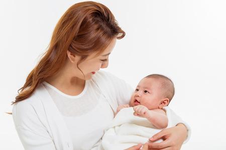 Foto de Asian Family Portrait / Isolated on White - Imagen libre de derechos