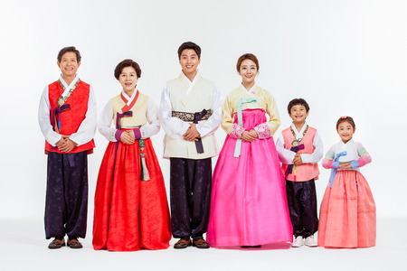 Portrait of Asian Three Generation Family in Hanbok, Korean Traditional Clothes