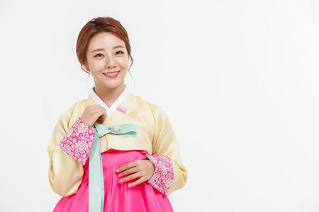 Photo pour Portrait of Asian Three Generation Family in Hanbok, Korean Traditional Clothes - image libre de droit