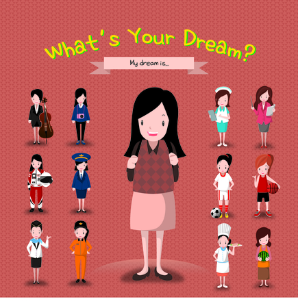 Illustration pour Girl With Many Career Ideas - image libre de droit