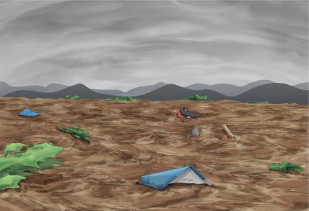 Mudslide Awareness Vector Illustration