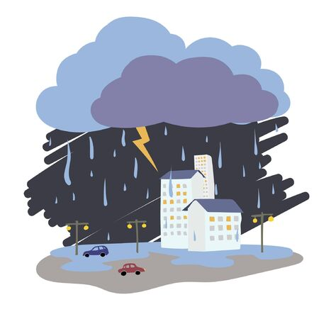 Weather vector illustration - rain, lightning, thunderstorm