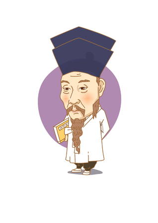 Famous historical figures caricature isolated in white - Korean great scholar, Dasan Jeong Yak-yong