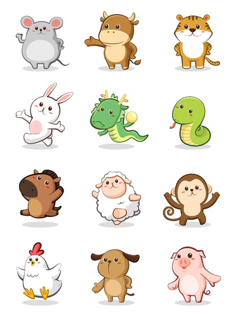 Foto de Set of 12 Chinese Zodiac animals - Imagen libre de derechos