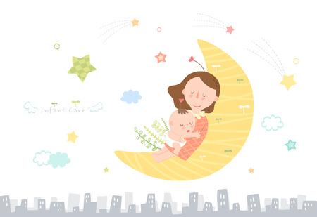 Illustration pour Mother taking care of infant baby - image libre de droit