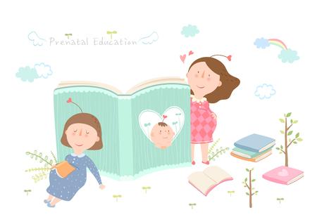 Illustration pour Pregnant woman reading book - image libre de droit