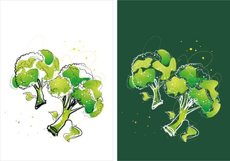 Two version background of broccoli sketch