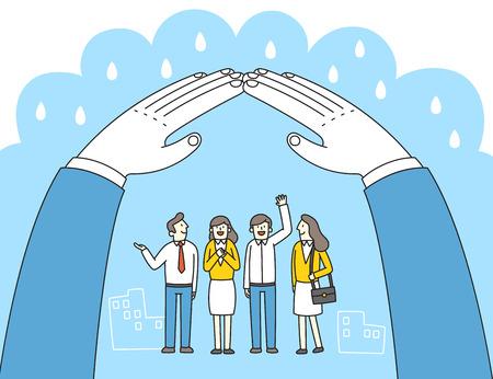 Illustration pour Leadership concept vector illustration. To reconciliation and unity for success in business. - image libre de droit