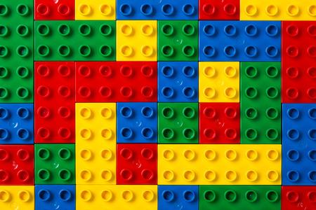 Foto de Education objects. study for childrens. numbers, words of Korean, words of English, bricks 169 - Imagen libre de derechos