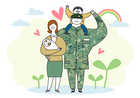 Photo pour Soldier and officer man and woman in uniform. Cute cartoon style vector illustration. 010 - image libre de droit