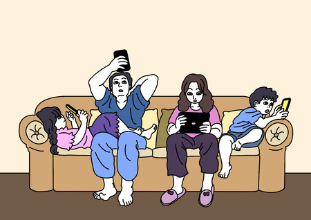 Ilustración de Vector - Smartphone addiction concept vector illustration. many people are always using it, and lack of communication. - Imagen libre de derechos