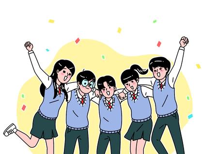 Illustration pour School life cartoon. Teenagers, middle and high school students vector illustration - image libre de droit