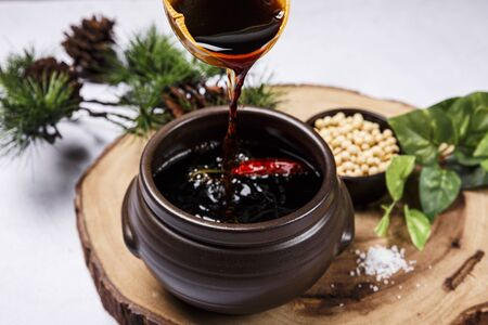 Photo for Concept of Korean traditional sauces, soy sauce, - Royalty Free Image