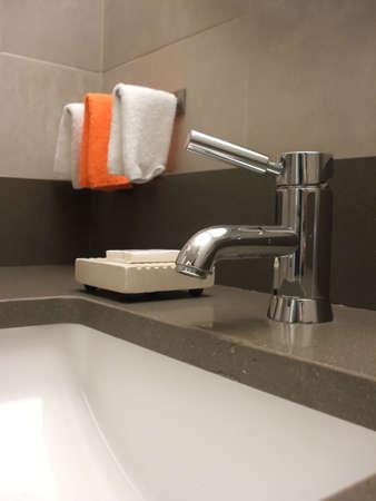 Bathroom Still Life: Modern Faucet and Sink