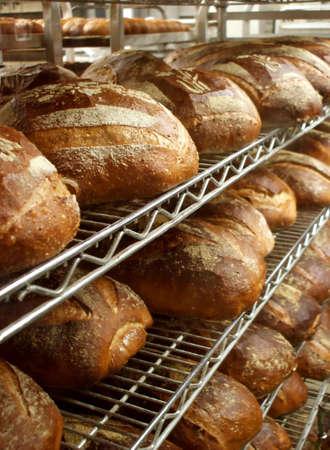 Photo pour Shelves of Fresh Baked Artisinal Bread in Bakery - image libre de droit