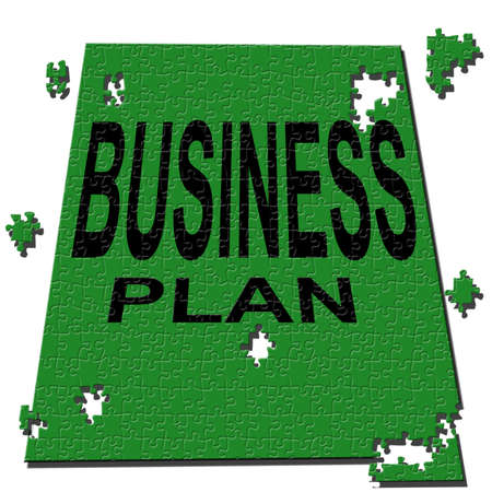 business plan made up of puzzles green on a white background