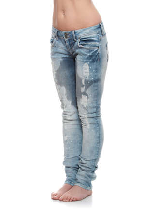 Young woman body in jeans - wet because of pee  shock, scare,illness or laughing