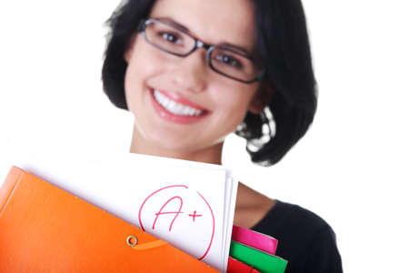 Student woman showing her perfect exam result