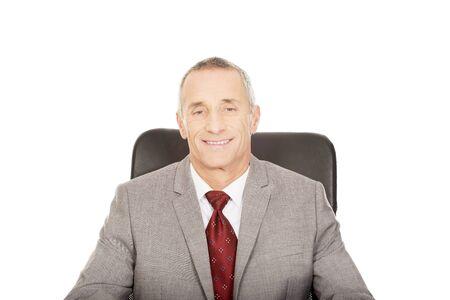 Smiling mature businessman sitting on armchair.