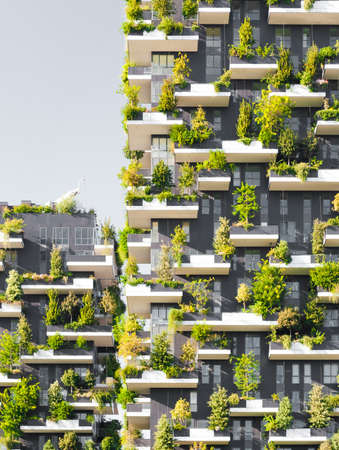 Bosco Verticale literally Vertical Forest is a complex of two residential towers in the modern district of Porta Nuova in Milan; their peculiarity is that they host hundreds of trees and plants in the facades.