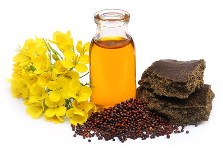 Mustard oil cake with flower