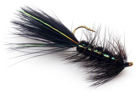 Foto de Hand made fishing fly with hook over white background - Imagen libre de derechos