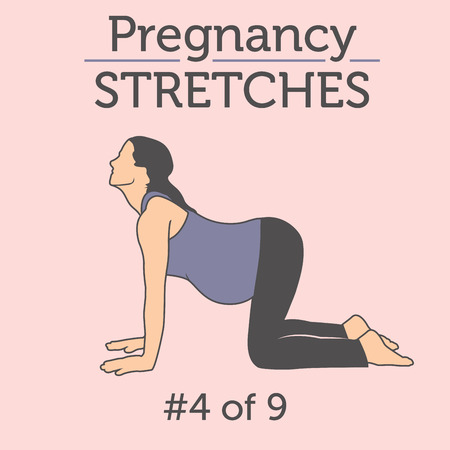 Illustration pour Pregnant Woman in the Expecting Stages of Birth Stretching or Exercising with Breathing, Exercise and Yoga Methods.  Stretches and Light Weight Aerobics or Exercise Methods Help You Have Strong and Nice Baby. - image libre de droit
