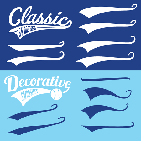 Illustration for Vector Swooshes Swishes, Swooshes, and Swashes for Typography on Retro Baseball Tail Tshirt - Royalty Free Image