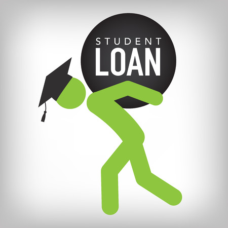 Illustration pour 2016 Graduate Student Loan Icons - Crippling Student Loan Graphics for Education Financial Aid or Assistance, Government Loans, and Debt - image libre de droit