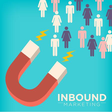 Vektor für Inbound Marketing Graphic with Magnet Attracting Stick Figures Using Pull Marketing Techniques - Lizenzfreies Bild