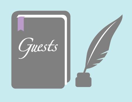 Illustration pour Guest Book with Pen - image libre de droit
