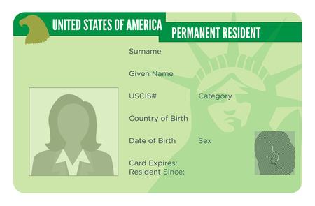 Illustration pour American Naturalization or Permanent Residency Card - image libre de droit