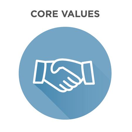 Illustration pour Core Values Icon with Handshake or Shaking Hands - image libre de droit