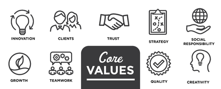 Illustration pour Core Values - Mission, integrity value icon set with vision, honesty, passion, and collaboration as the goal / focus - image libre de droit