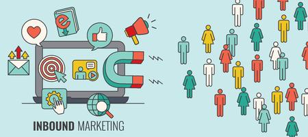 Vektor für Inbound Header w Magnet Attracting new Leads and Generating Income with Inbound Marketing - Lizenzfreies Bild