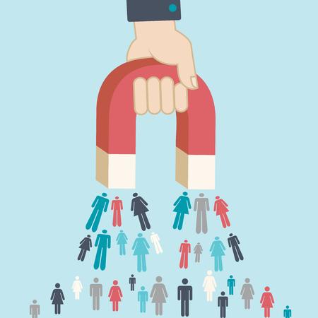 Vektor für Magnet pulling people for inbound lead generation, a digital marketing symbol - Lizenzfreies Bild