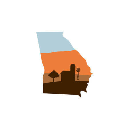 Georgia State Shape, Farm at Sunset with Windmill, Barn, and a Tree Vector illustration.