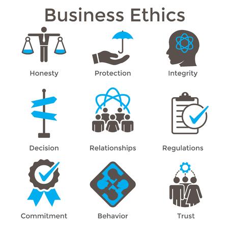 Illustration pour Business Ethics Solid Icon Set with Honesty, Integrity, Commitment, - image libre de droit
