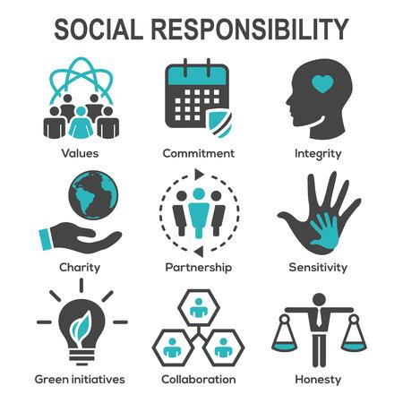 Ilustración de Social Responsibility Solid Icon Set with Honesty, integrity, collaboration, etc  - Imagen libre de derechos