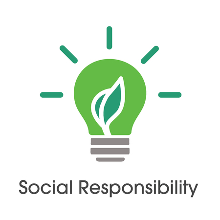 Ilustración de Social Responsibility Solid Icon Set with bulb and leaf - Imagen libre de derechos