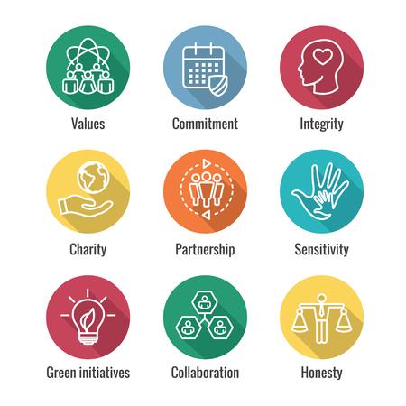 Ilustración de Social Responsibility Outline Icon Set with Honesty, integrity, & collaboration, etc  - Imagen libre de derechos