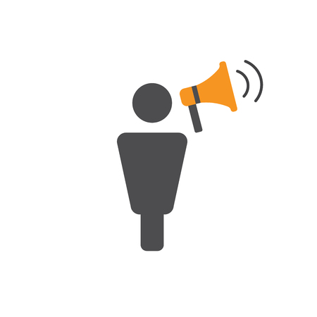 Ilustración de Spokesperson icon - person in marketing position networks and coordinates with others - Imagen libre de derechos