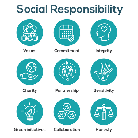 Illustration pour Social Responsibility Outline Icon Set with Honesty, integrity, & collaboration, etc  - image libre de droit