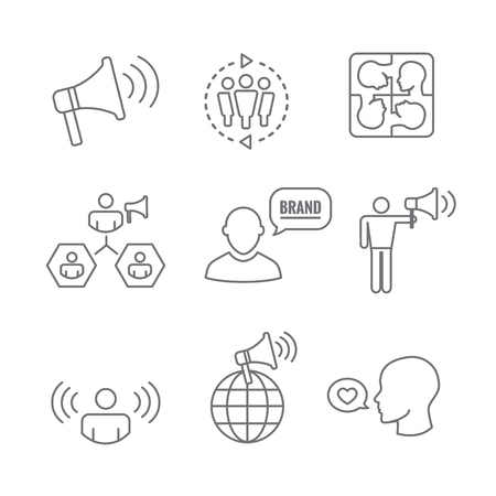 Ilustración de Spokesperson icon set   bullhorn, coordination, pr, public relations person set Vector illustration. - Imagen libre de derechos