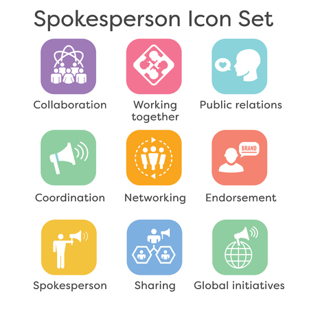 Spokesperson icon set with bullhorn, coordination and public relations person set
