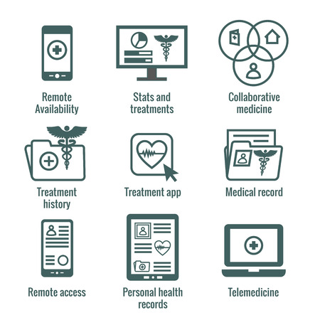 Illustration pour Telemedicine and Health Records Icon Set w Caduceus, file folders, computers, etc - image libre de droit