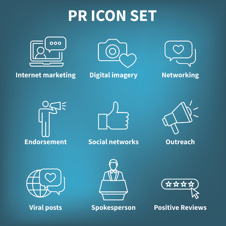 Brand Ambassador & Spokesperson Icon Set with Networking, Social, and bullhorn images