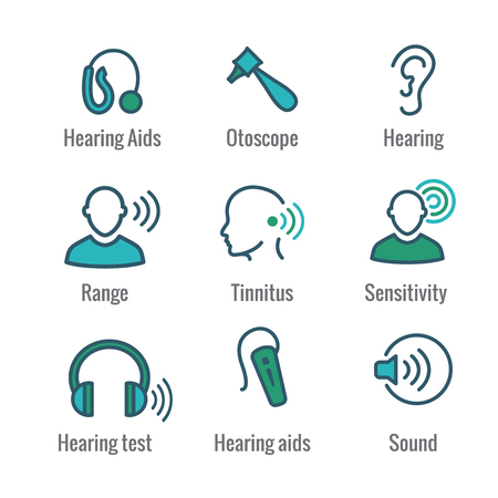 Illustration for Hearing Aid or loss with Sound Wave Images Icon Set - Royalty Free Image