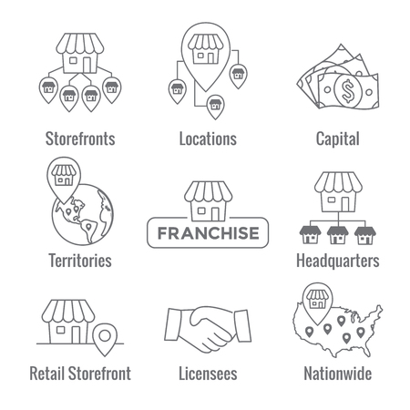 Illustration for Franchise Icon Set with Home Office, corporate Headquarters - Franchisee Icon Images - Royalty Free Image